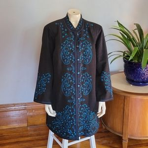 2X silk suit jacket embroidered
